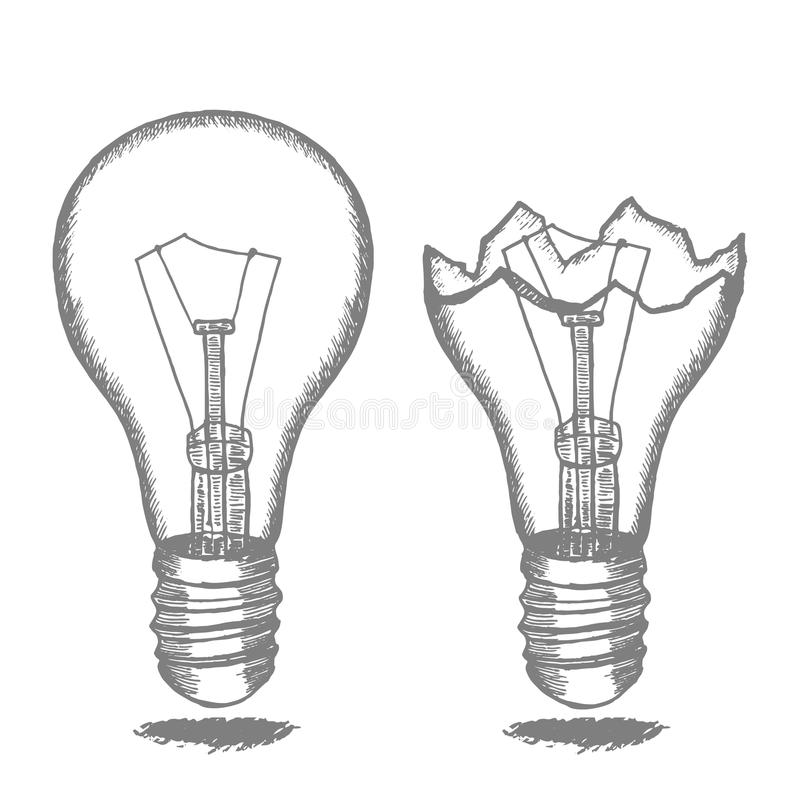 Lamp Bulb Hand Draw Sketch. Vector Stock Vector