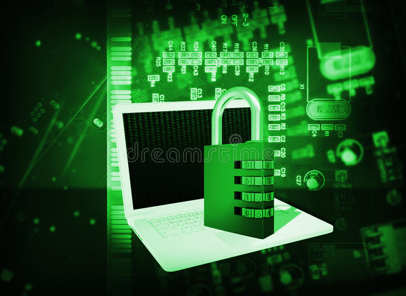Futuristic Integrated Circuit Code Lock And Globe Royalty Free Stock