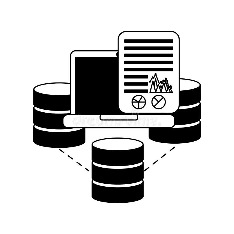 Laptop Document Code Graphs Link Web Stock Vector
