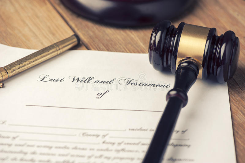 Last Will And Testament Form With Gavel Stock Image - Image of ...