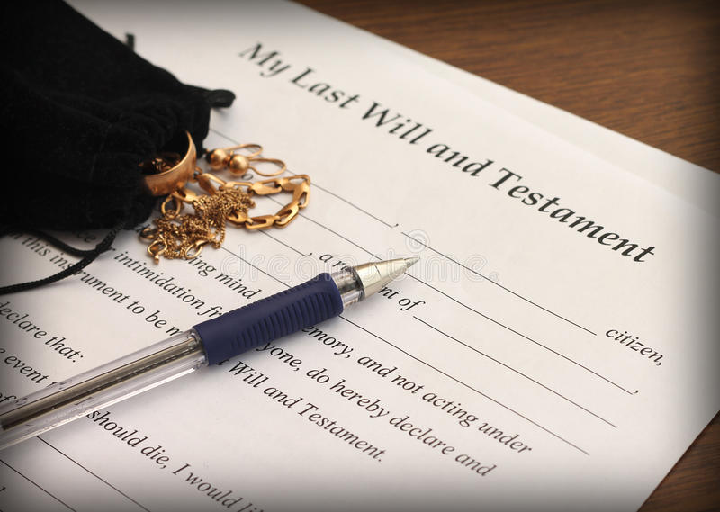 Last Will And Testament Form With Gold Jewelry Stock Photo - Image ...
