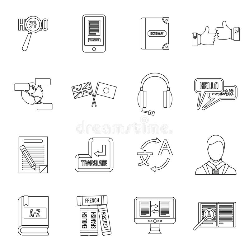 Learning Foreign Languages Icons Set, Flat Style Stock