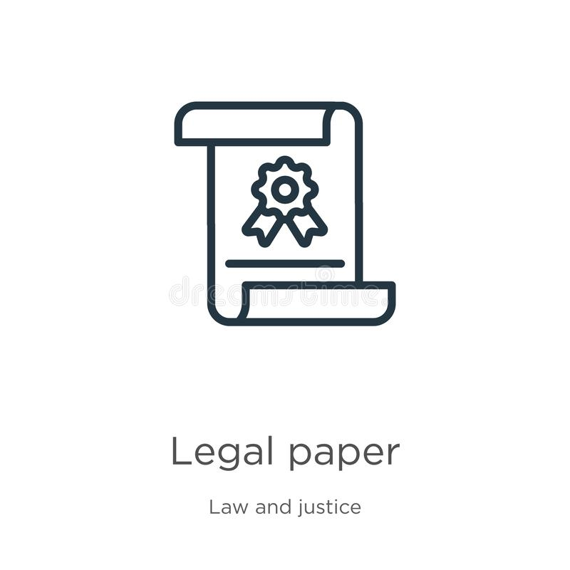 Outline Legal Paper Vector Icon. Isolated Black Simple