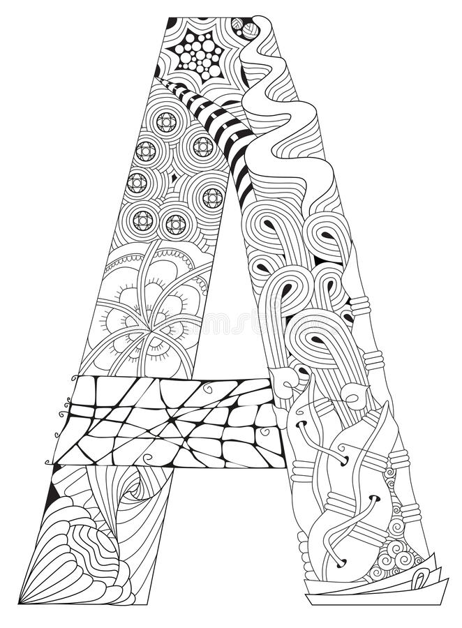 Letter A For Coloring. Vector Decorative Zentangle Object