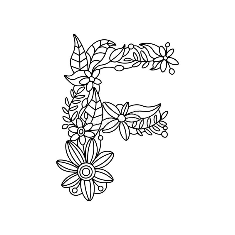 Letter F Coloring Book For Adults Vector Stock Vector - Illustration ...