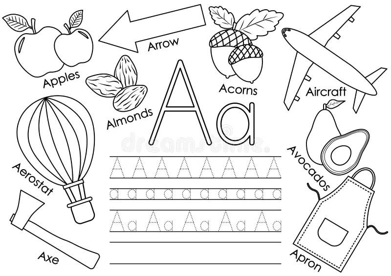 Cartoon Apple And Aircraft. Alphabet Tracing Worksheet