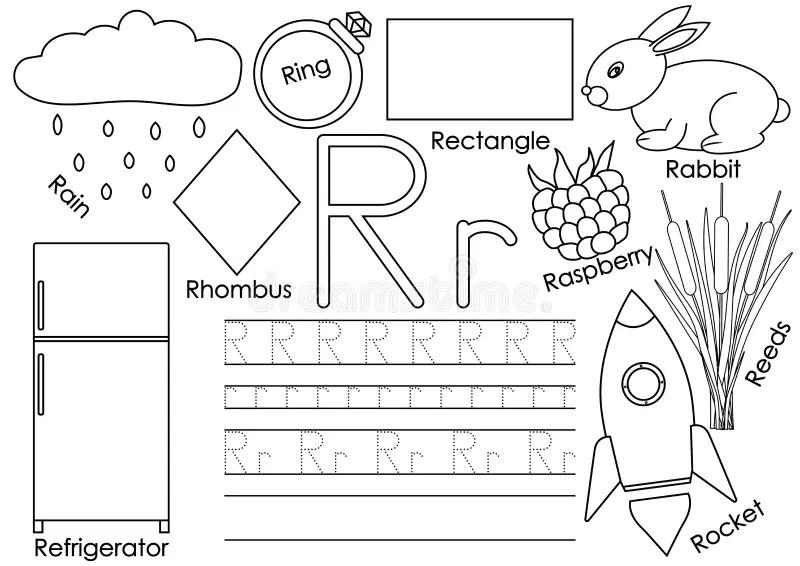 Flashcard Alphabet R Is For Rain Stock Vector