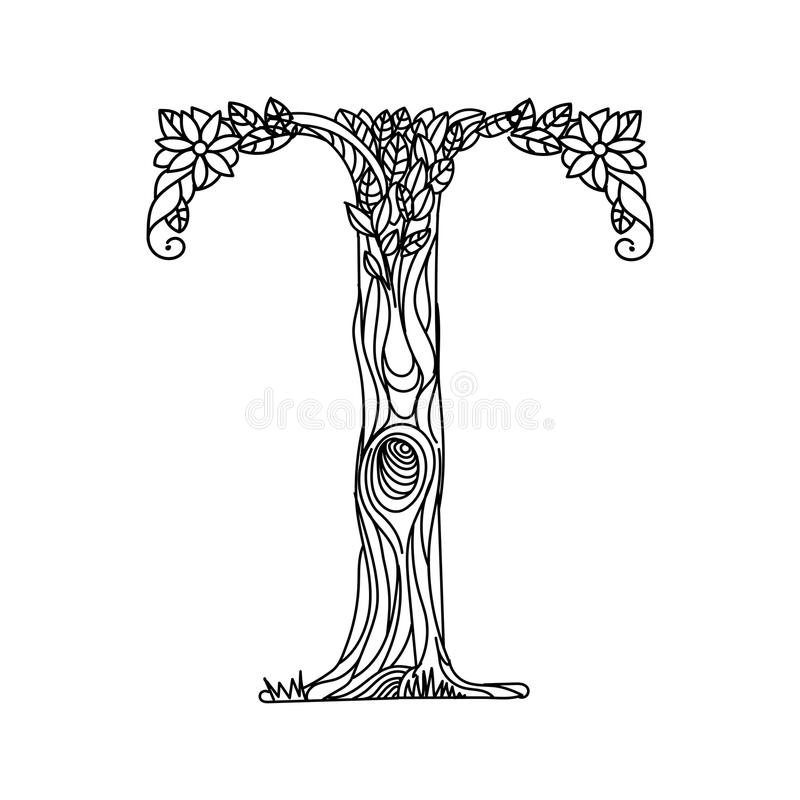 Letter T Coloring Book For Adults Vector Stock Vector