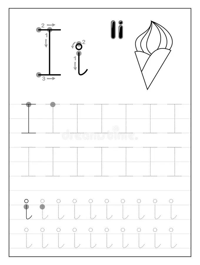 Lettera I Dell'alfabeto Di Traccia Pagine In Bianco E Nero