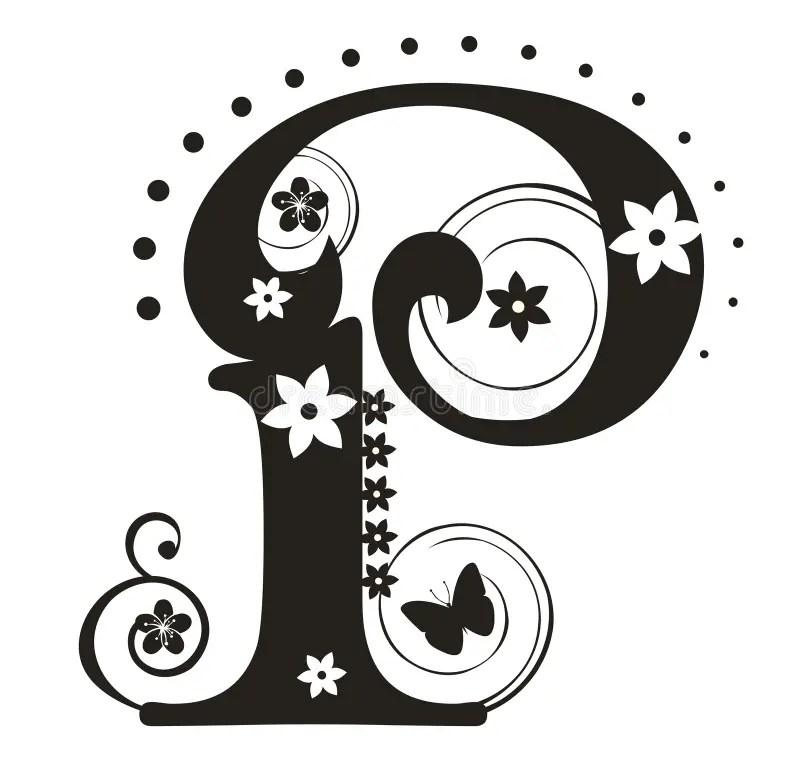 Lettera P illustrazione vettoriale. Illustrazione di fiore