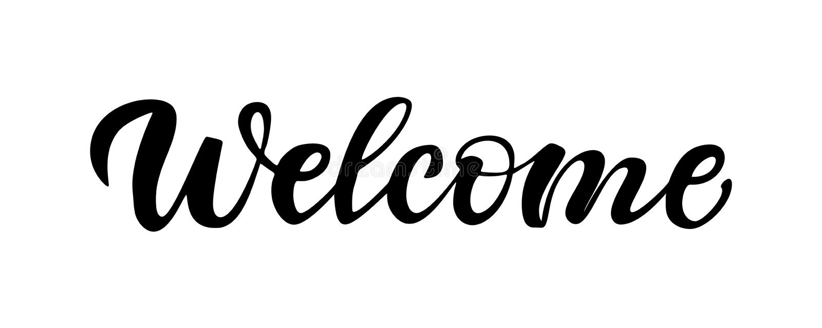 Calligraphy Lettering Of Welcome With Black Letters