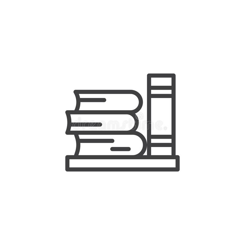 Library books outline icon stock vector. Illustration of