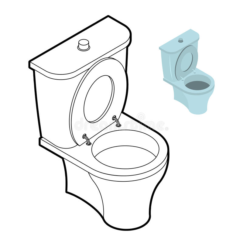 Libro Da Colorare Del WC Della Toilette Accessori Del Bagno Nello Stile Lineare Illustrazione