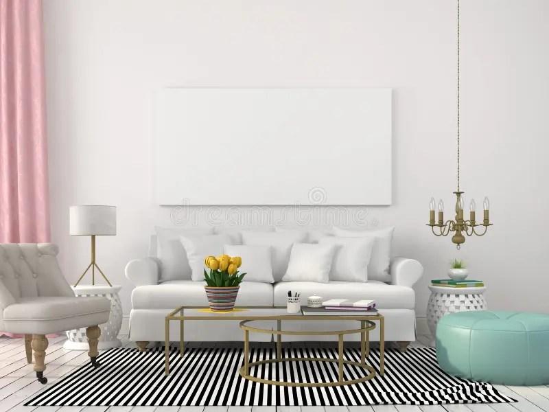 Lichte Woonkamer In Wit En Pastelkleuren Stock Foto
