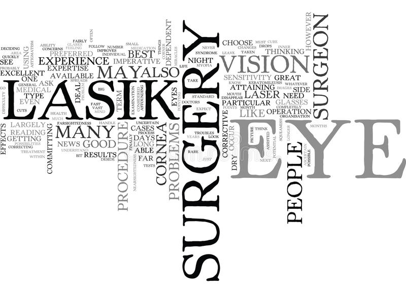 Lasik Procedure Text Background Word Cloud Concept Stock