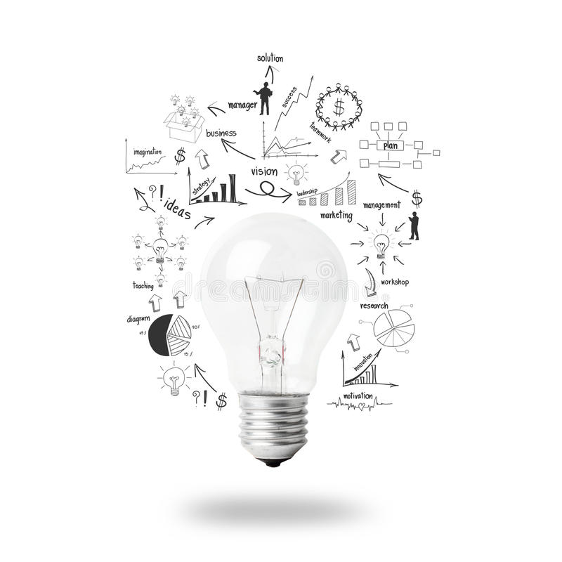 Light Bulb With Drawing Business Plan Strategy Concept