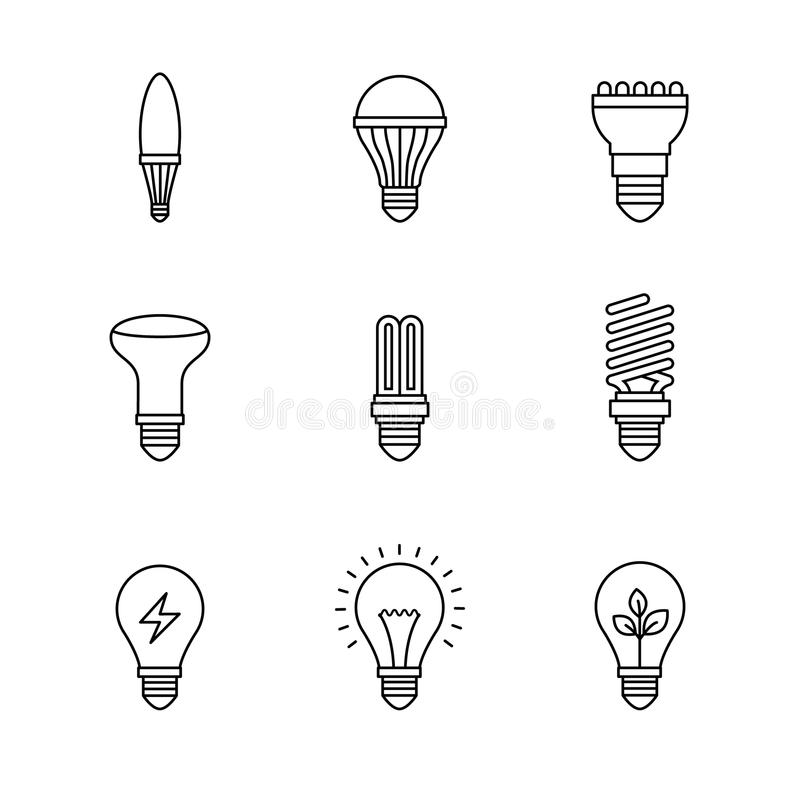 Set Of Eco Electric Bulb Symbols And Icons Stock Vector