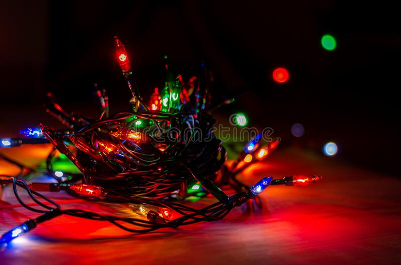 lights from a christmas garland in a