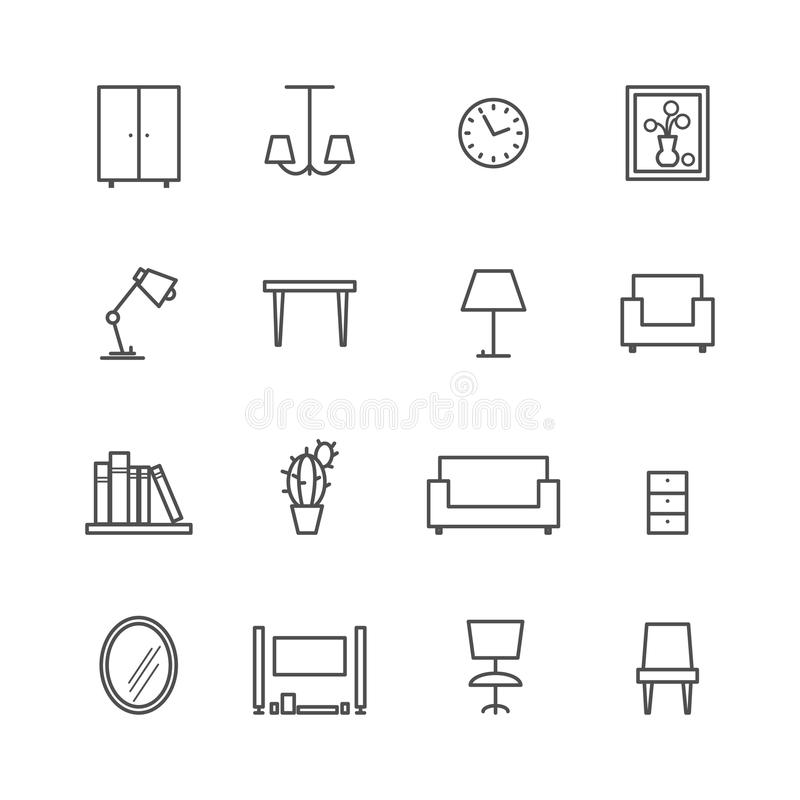 Line furniture icons stock vector. Illustration of element