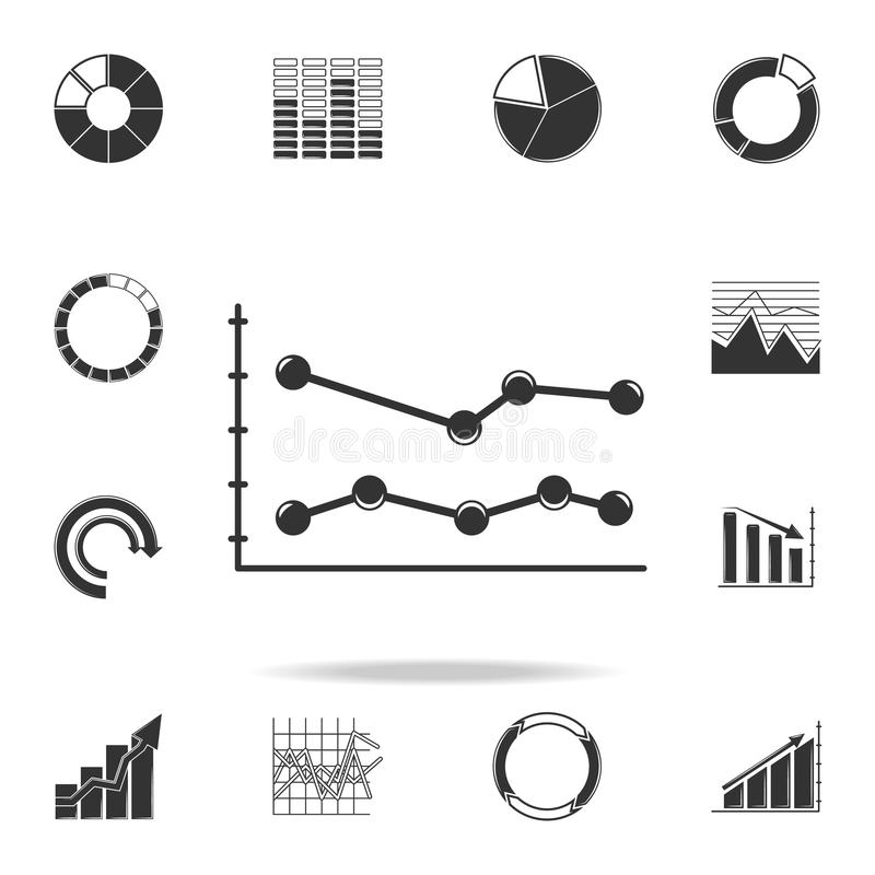 Chart Diagram Icon Set, Simple Style Stock Vector