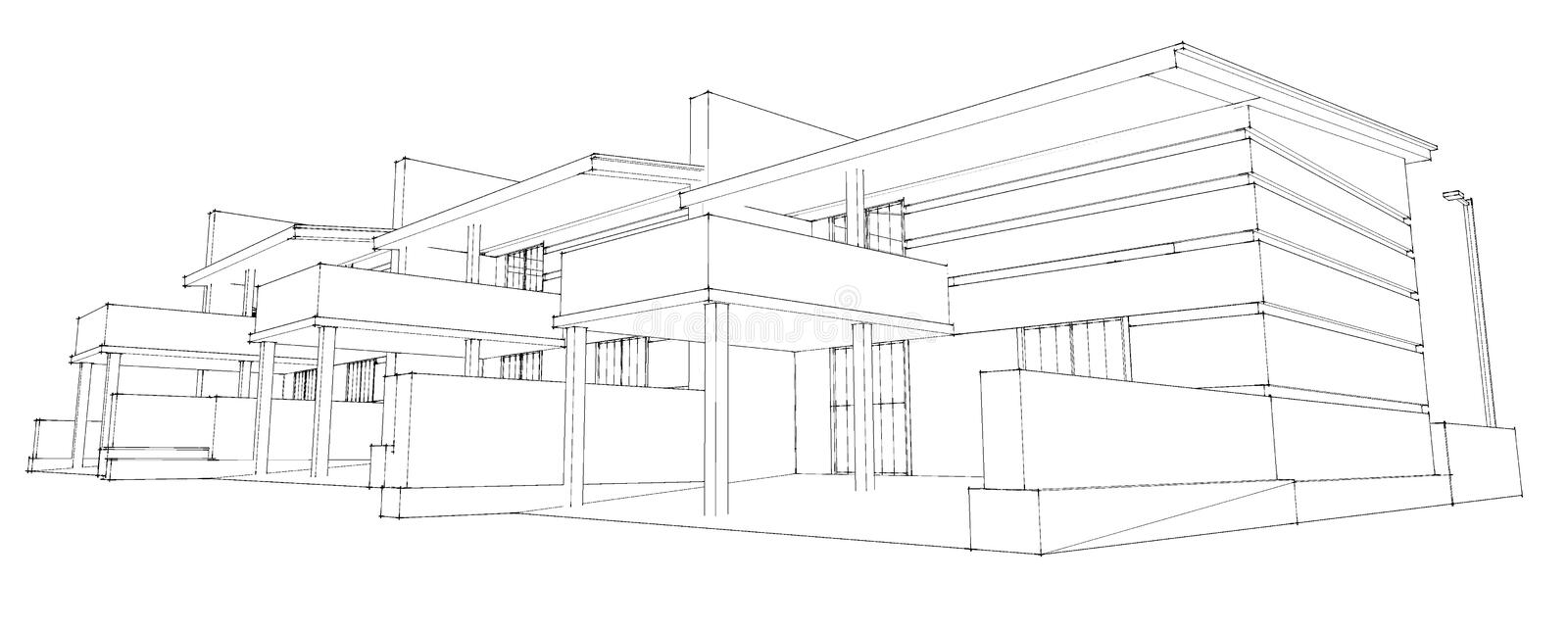 Pencil Sketch Of Residential Development Stock