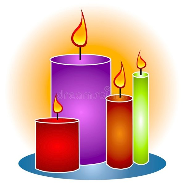 Lit Decorative Candles Clipart Stock Illustration