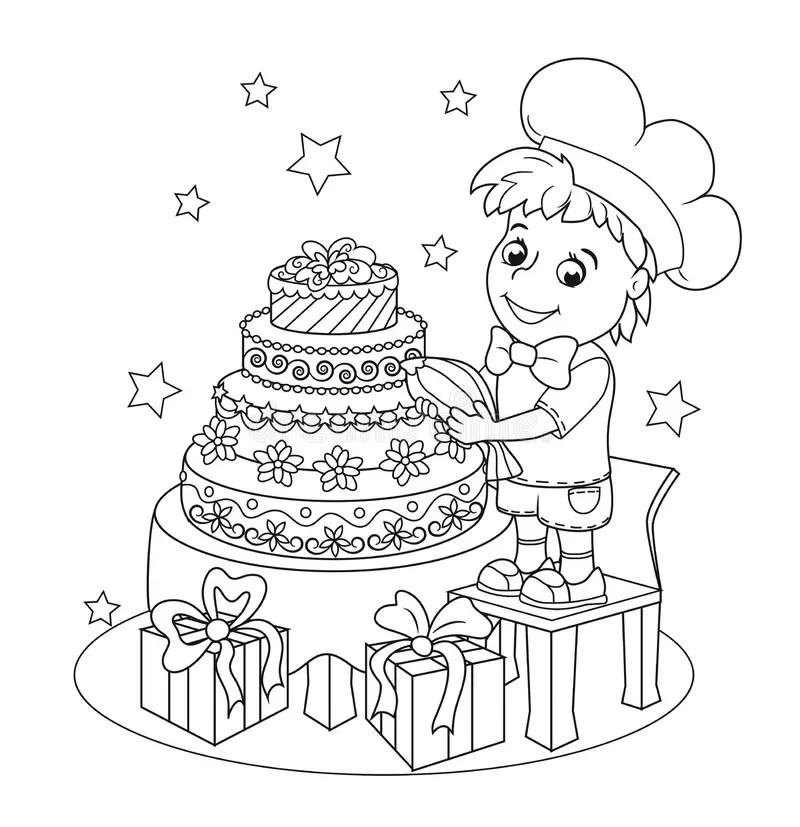 Little Cartoon Kids With Big Birthday Cake Stock
