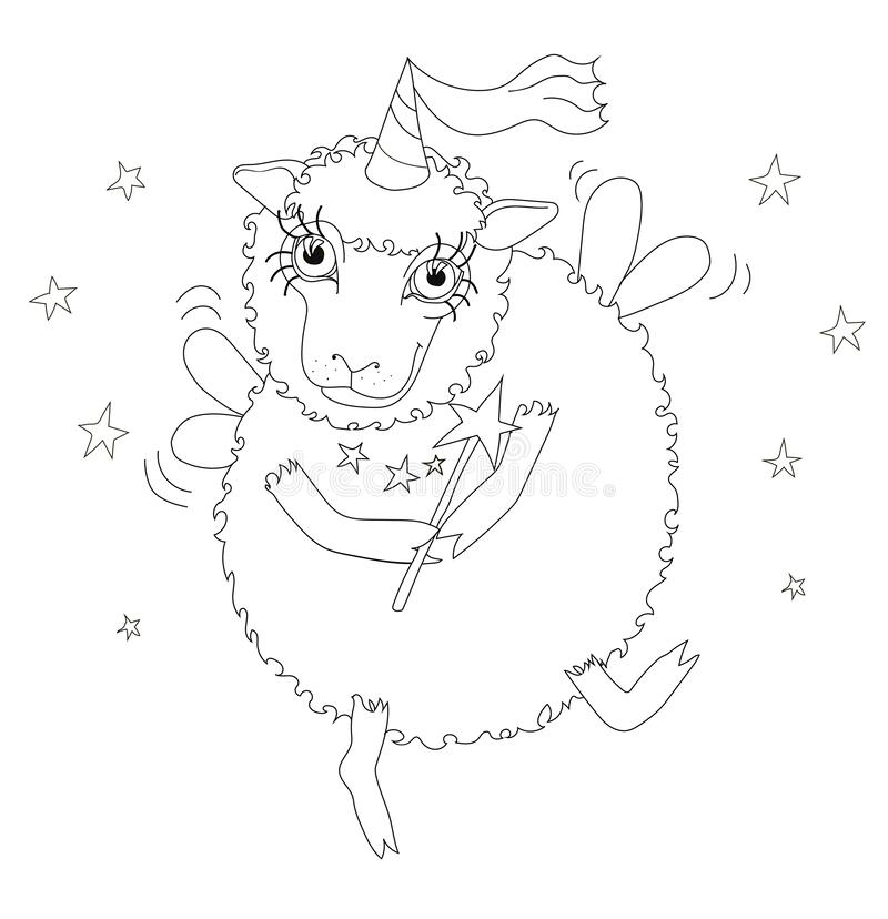 Fairy Coloring Page stock illustration. Illustration of