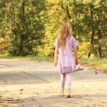 Little Kid - Girl Walking Barefoot Stock
