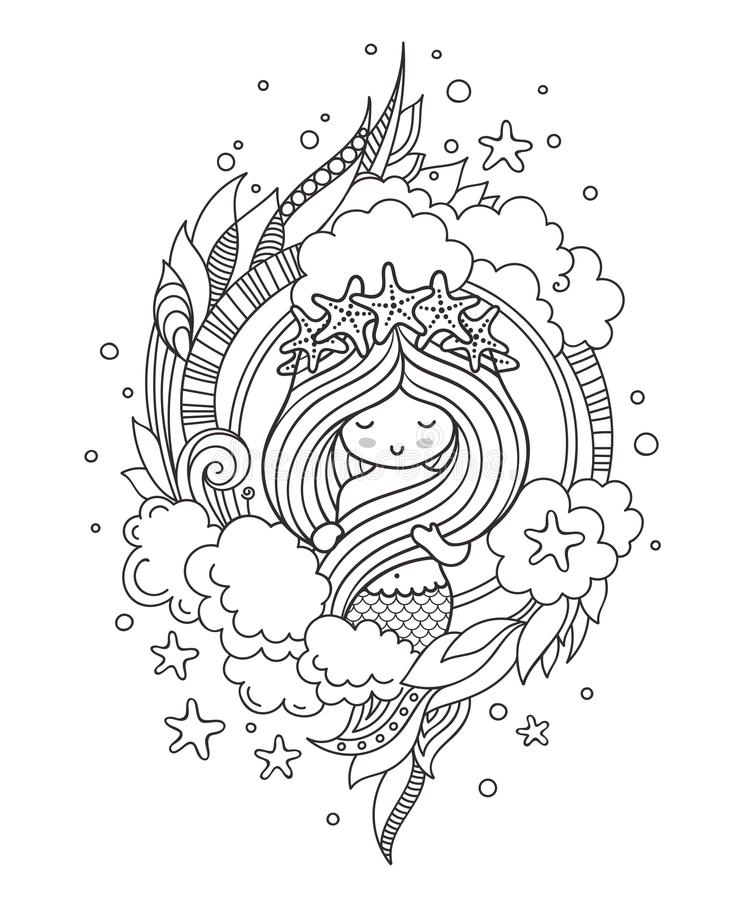 Mermaid In A Wreath Of Starfish, Floating With A Dolphin