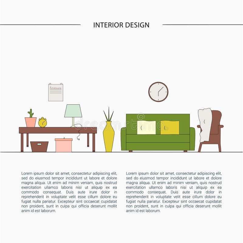 Living Room Design In High Tech Style. Stock Illustration - Illustration of architecture. light: 92755977