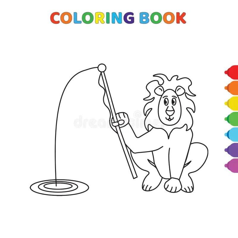Menino Da Pesca Para O Livro Para Colorir. Ilustração do