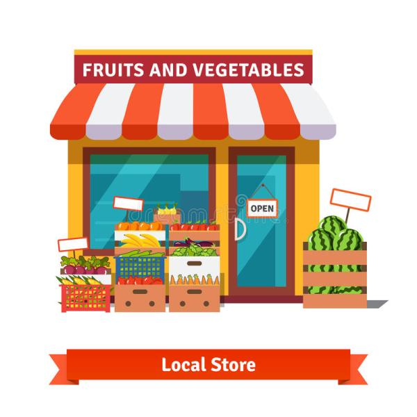 Local Fruit And Vegetables Store Building Stock Vector