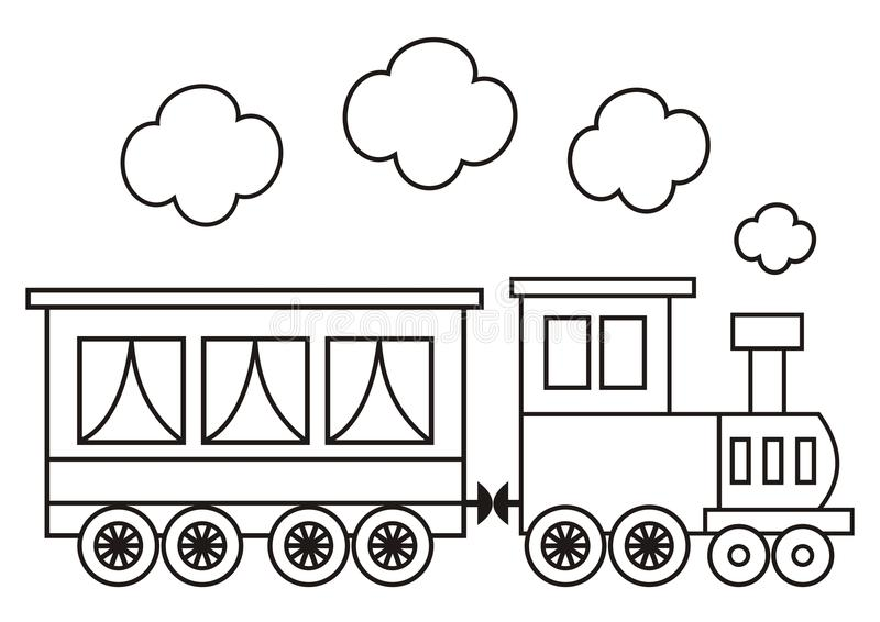 Locomotive, coloring book stock vector. Illustration of