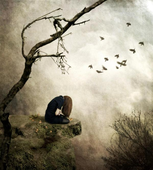Lonely Girl Sitting Rock In Sorrow Stock Illustration