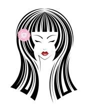 long hair style icon logo women