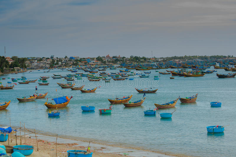 A Lot Of Boats On The Sea. Fishing In Fish Village. Mui Ne. Vietnam Editorial Stock Image - Image of fisherman. asia: 75305169