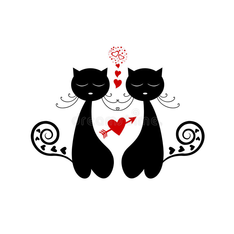 Download Love Cat Silhouette stock vector. Illustration of outline ...