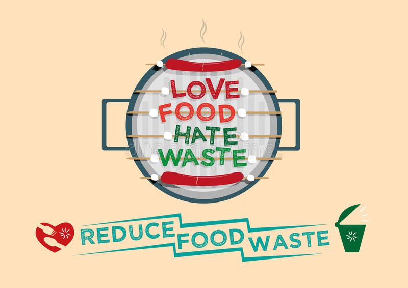 Love Food Hate Waste Graphic Design Concept Reduce Food Waste Campaign Concept Stock Vector