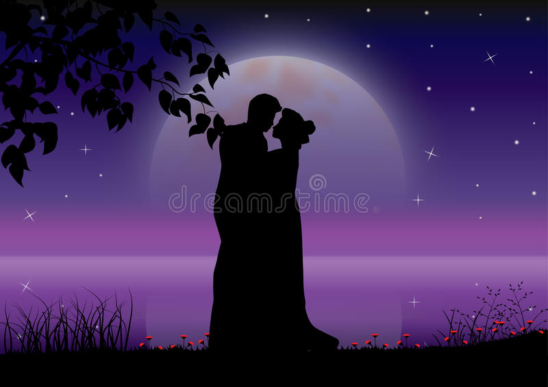 Download Sea With Full Moon And Silhouette Couple At Night. Stock ...