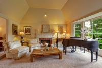 Luxury Family Room With Grand Piano And Fireplace Stock ...