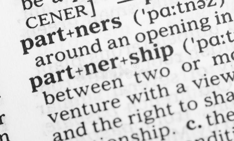 Macro Image Of Dictionary Definition Of Partnership