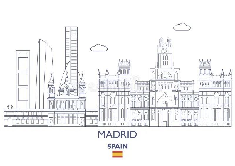Modern Madrid City Skyline Design. Spain Stock Vector