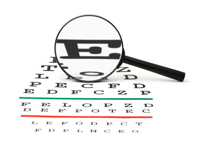 Magnifier On Eyesight Test Chart Royalty Free Stock Photo