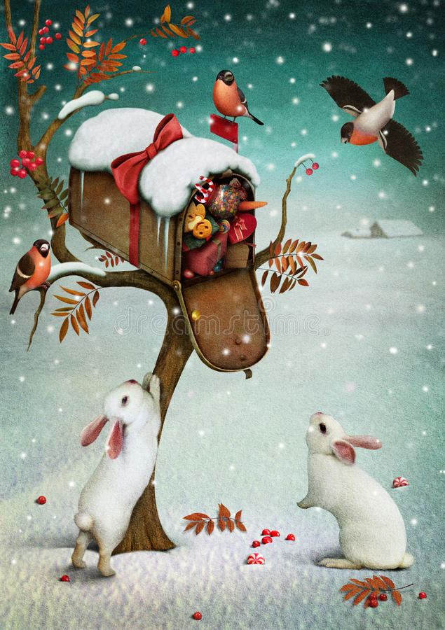 Mailbox In Winter Forest Stock Illustration Image Of