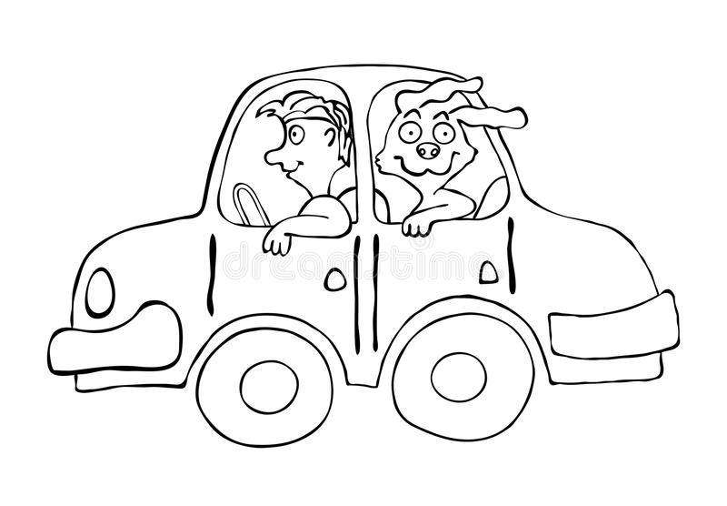 Man An Dog In Cartoon Car, Vector Illustration Stock