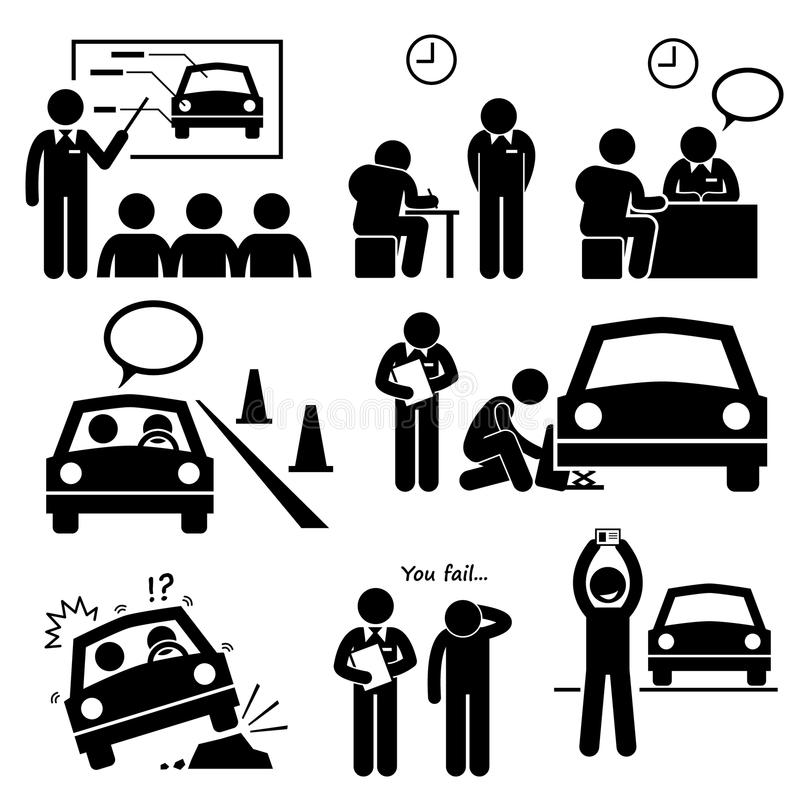 Man Getting Car License Driving School Lesson Cliparts
