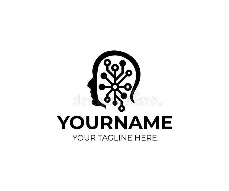 Man Head And Artificial Intelligence Logo Template. Human