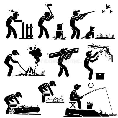 Man Living In A Rural Area Countryside Lifestyle Clipart ...