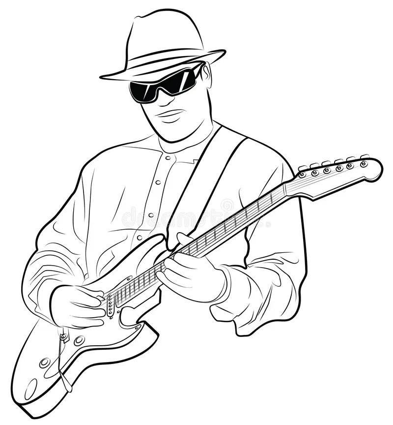 Man Playing Electrical Guitar Stock Photo